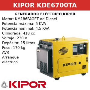 Generador Eléctrico KDE6700TA de Diesel