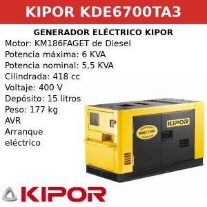Generador Eléctrico KDE6700TA3 de Diesel