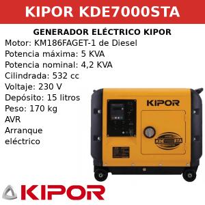 Generador Eléctrico KDE7000STA de Diesel