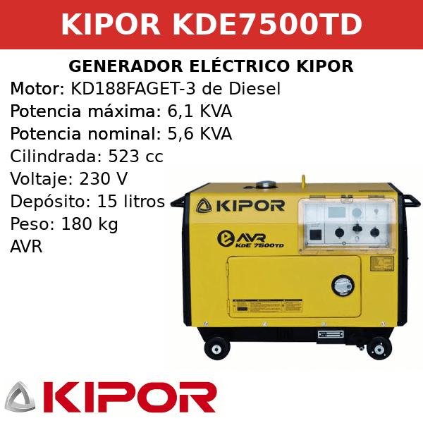 Generador Eléctrico KDE7500TD de Diesel