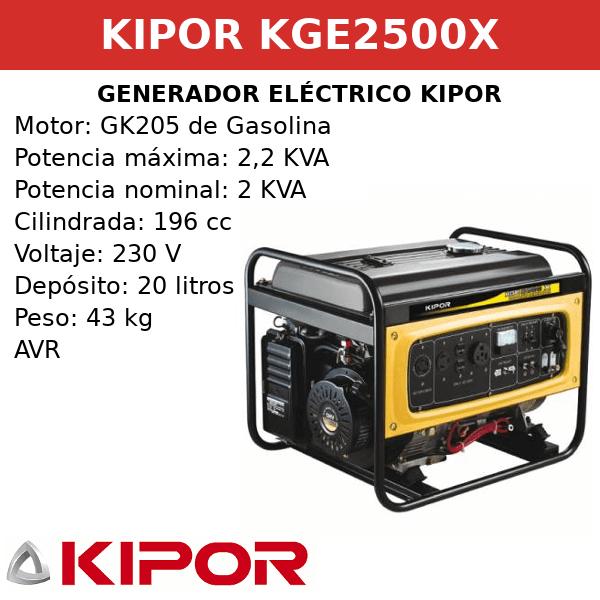 Generador Eléctrico KGE2500X de gasolina