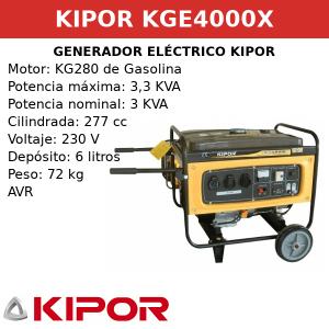 Generador Eléctrico KGE4000X de gasolina