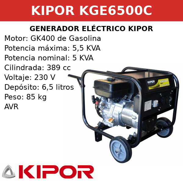Generador Eléctrico KGE6500C de gasolina