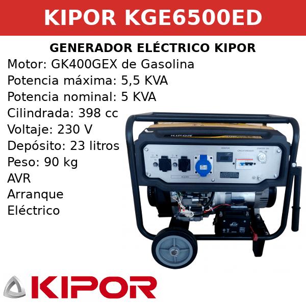 Generador Eléctrico KGE6500ED de gasolin