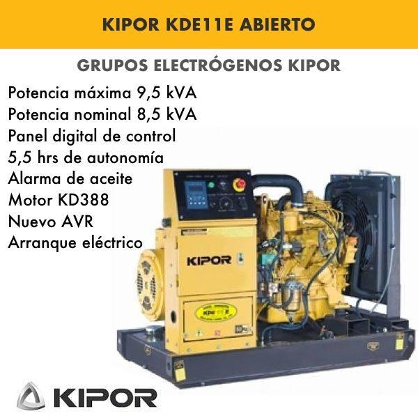 Generador Eléctrico industrial Kipor KDE11E Abierto Diesel 1500rpm 9,5kva