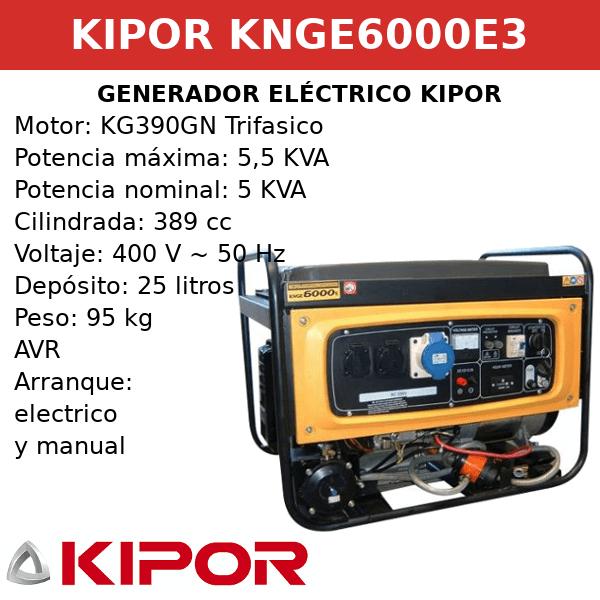 Generador eléctrico Kipor KNGE6000E3 gas, GPL o gasolina