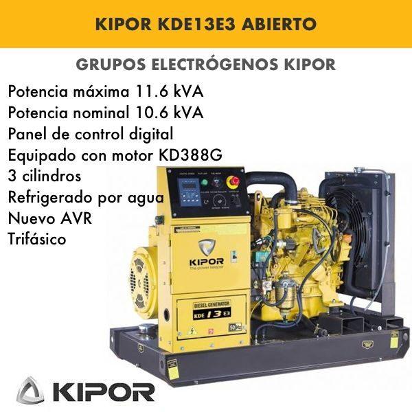 Generador electrico industrial Kipor KDE13E3 abierto diesel trifásico