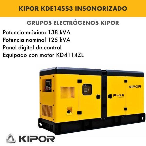 Generador electrico industrial Kipor KDE145S3 insonorizado trif. 138kva