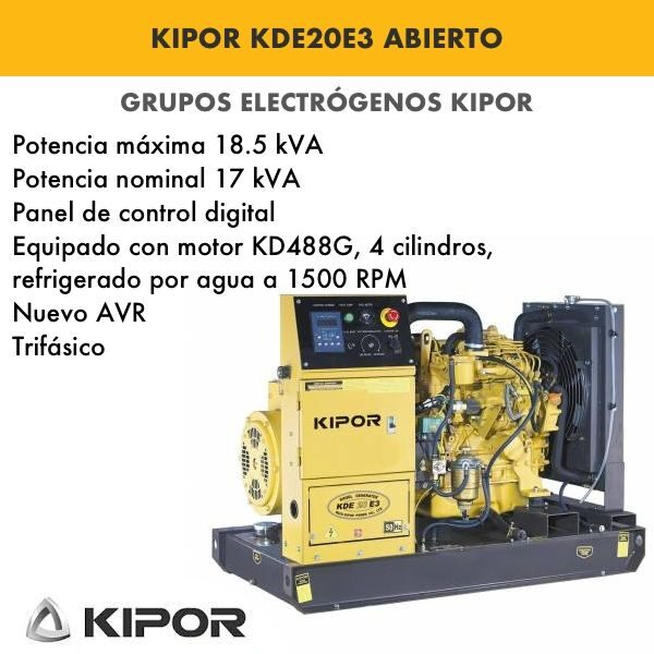 Generador electrico industrial Kipor KDE20E3 abierto 18,5kva