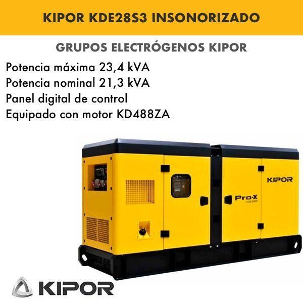 Generador electrico industrial Kipor KDE28S3 insonorizado diesel trifasico
