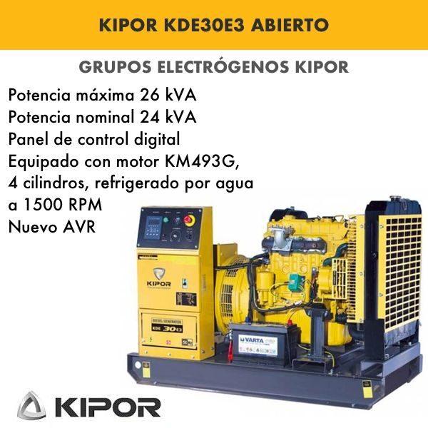 Generador electrico industrial Kipor KDE30E3 abierto trif. 26kva