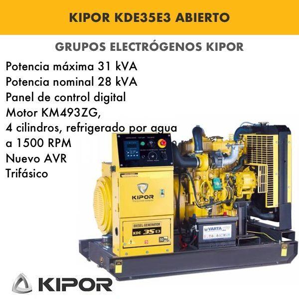 Generador electrico industrial Kipor KDE35E3 abierto diesel trif 31kva