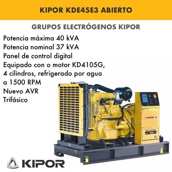 Generador electrico industrial Kipor KDE45E3 abierto trif. 40kva
