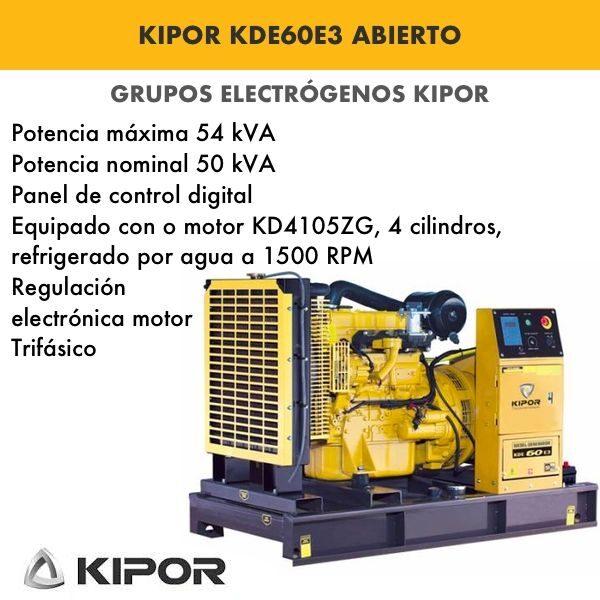Generador electrico industrial Kipor KDE60E3 abierto trif. 54kva