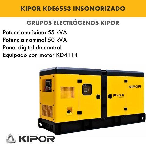 Generador electrico industrial Kipor KDE65S3 insonorizado diesel trifasico