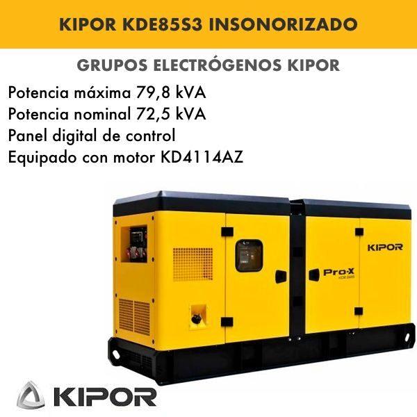 Generador electrico industrial Kipor KDE85S3 insonorizado diesel trifasico