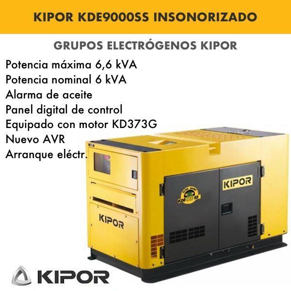 Generador electrico industrial Kipor KDE9000SS insonorizado 6,6kva