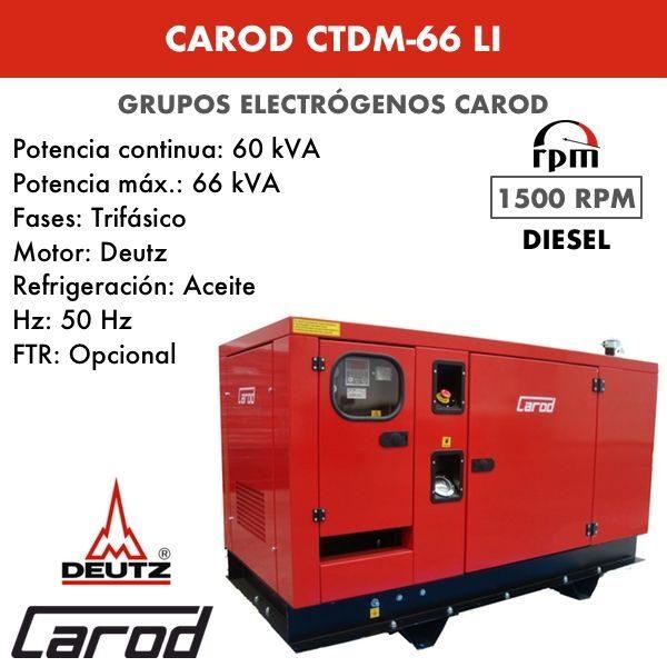 Grupo Electrógeno Carod CTDM66LI Trifasico Insonorizado 66kVA