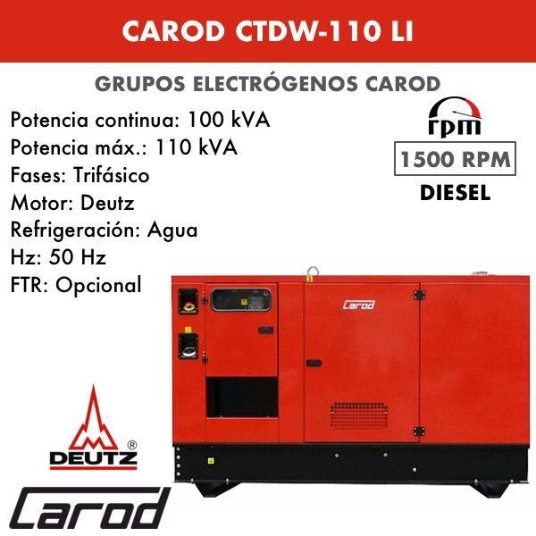 Grupo Electrógeno Carod CTDW-110 LI Trifasico Insonorizado 110kVA