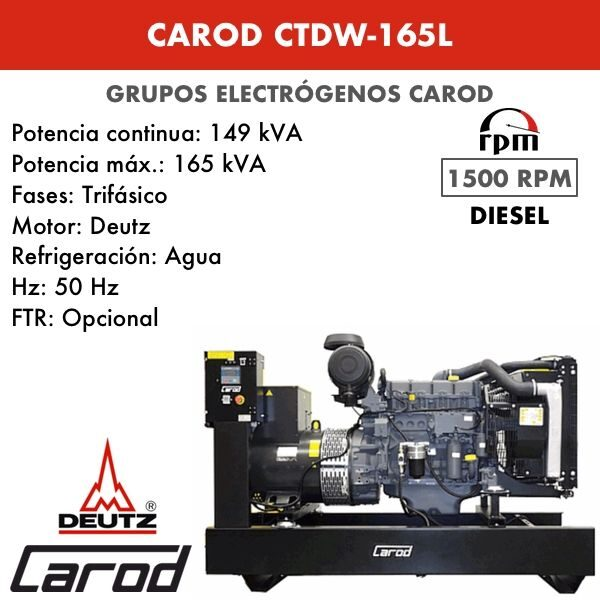 Grupo Electrógeno Carod CTDW-165 L Trifasico 165kVA