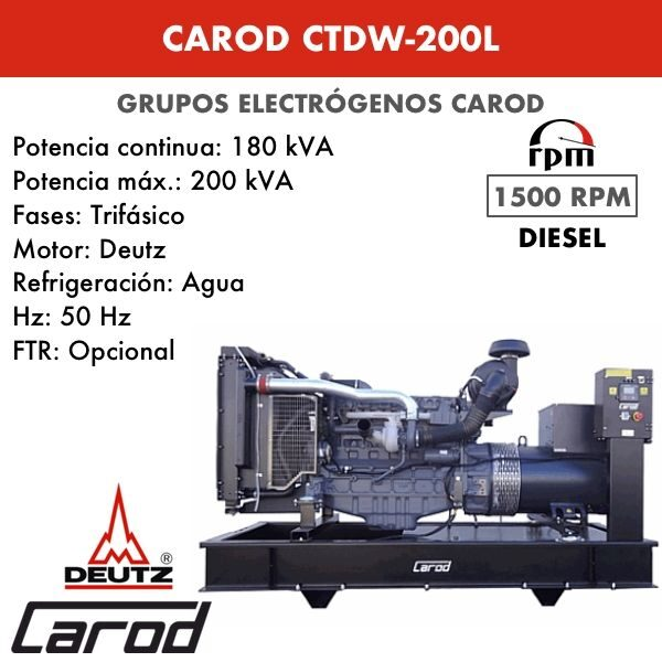 Grupo Electrógeno Carod CTDW-200 L Trifasico 200kVA