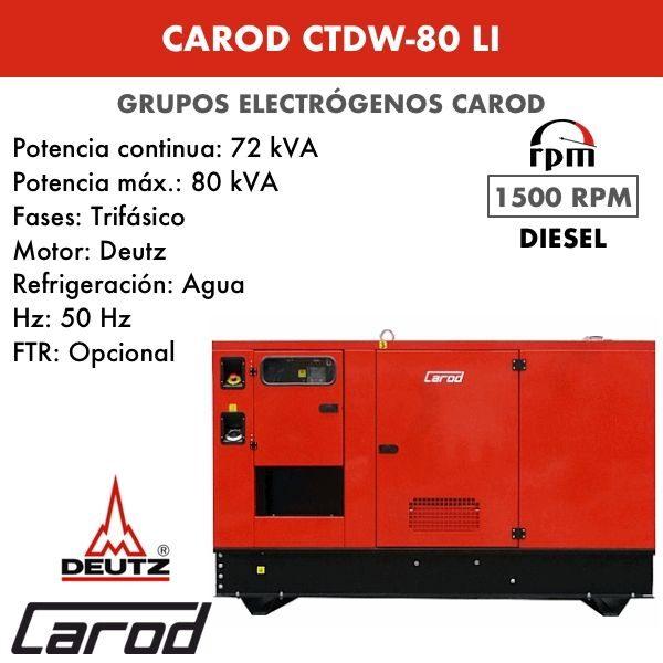 Grupo Electrógeno Carod CTDW-80 LI Trifasico Insonorizado 80kVA