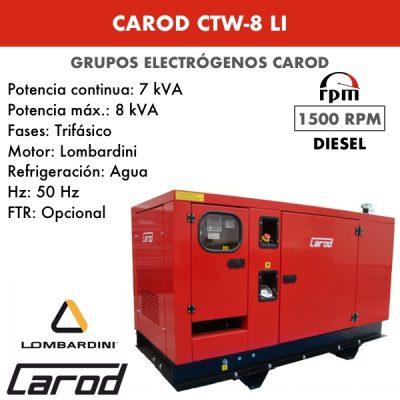 Grupo Electrógeno Carod CTW8LI Trifasico Insonorizado 8kVA