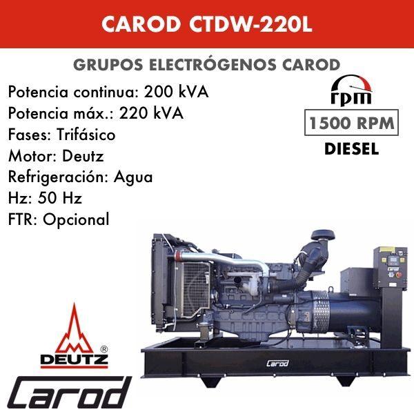 Grupo electrógeno Carod CTDW-220 L Trifasico 220kVA