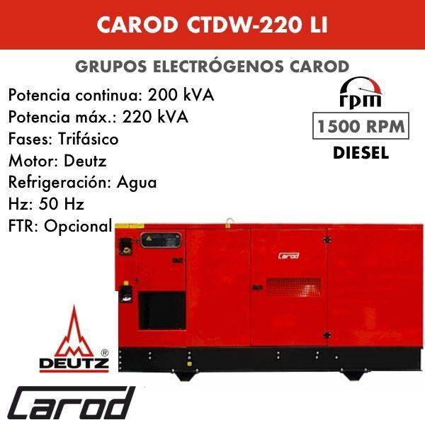 Grupo electrógeno Carod CTDW-220 LI Trifasico Insonorizado 220kVA