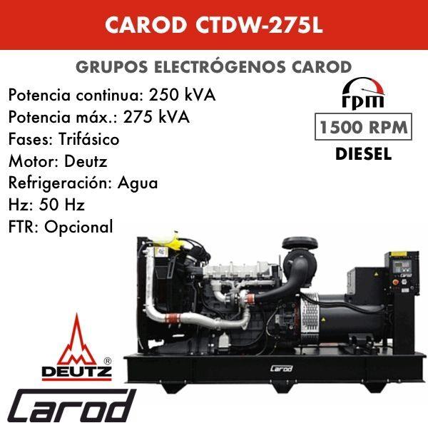 Grupo electrógeno Carod CTDW-275 L Trifasico 275kVA
