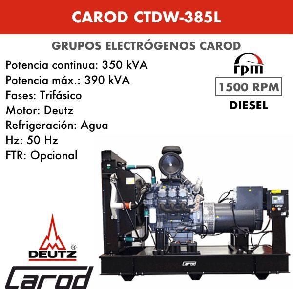 Grupo electrógeno Carod CTDW-385 L Trifasico 385kVA