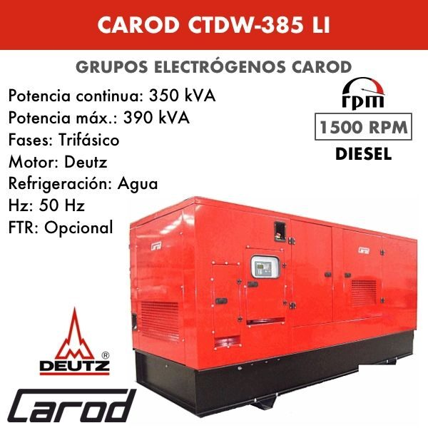 Grupo electrógeno Carod CTDW-385 LI Trifasico Insonorizado 385kVA