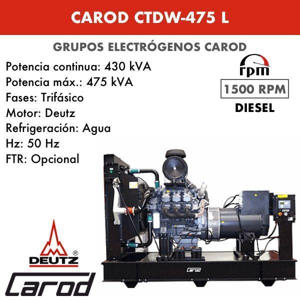 Grupo electrógeno Carod CTDW-475 L Trifasico 475kVA