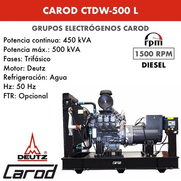 Grupo electrógeno Carod CTDW-500 L Trifasico 500kVA