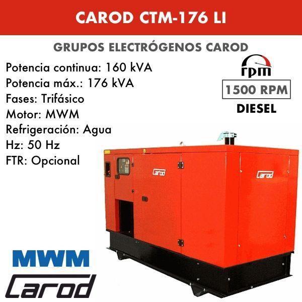 Grupo electrógeno Carod CTM-176 LI Trifasico Insonorizado 176kVA