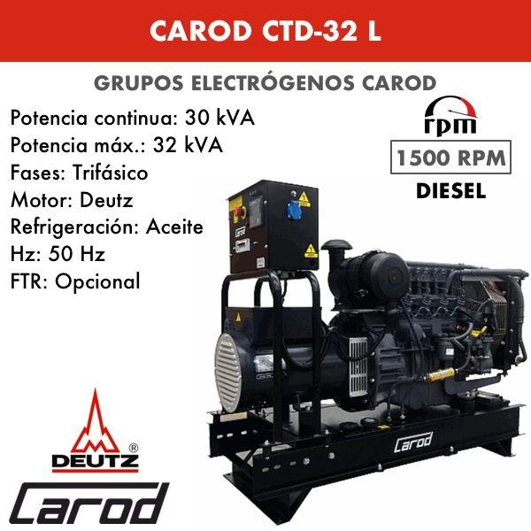 Grupo Electrógeno Carod CTD-32 L Trifásico 32kVA