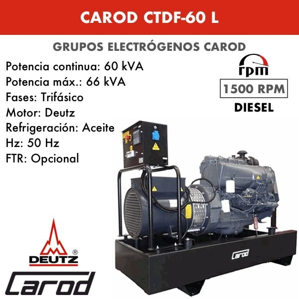 Grupo Electrógeno Carod CTDF-60 L Trifasico