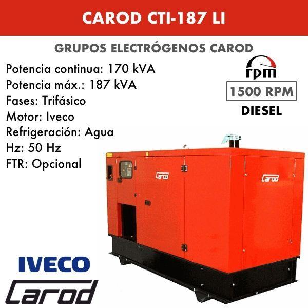 Grupo Electrógeno Carod CTI-187 LI Trifasico Insonorizado 187kVA