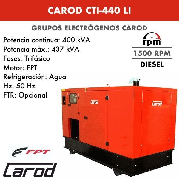 Grupo electrógeno Carod CTI-440 LI Trifasico Insonorizado 440kVA
