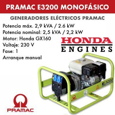 Generador eléctrico monofásico Pramac E3200