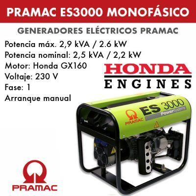 Generador eléctrico monofásico Pramac ES3000