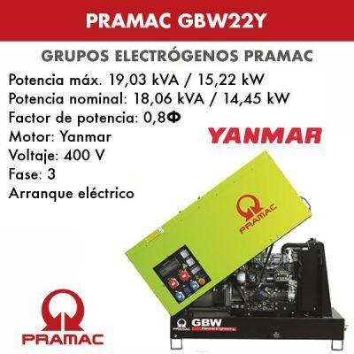 Grupo electrógeno insonorizado Pramac GBW22Y