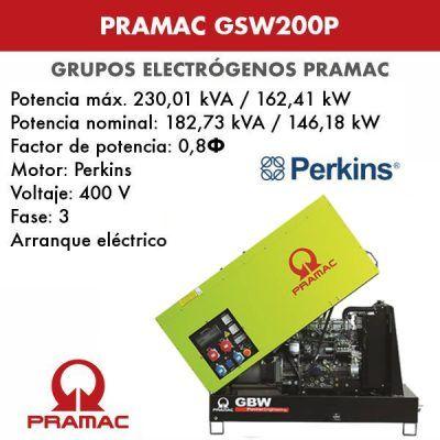 Grupo electrógeno insonorizado Pramac GSW200P