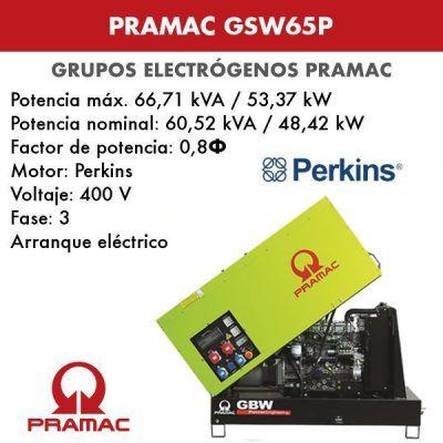 Grupo electrógeno insonorizado Pramac GSW65P