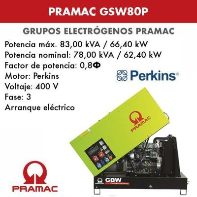 Grupo electrógeno insonorizado Pramac GSW80P