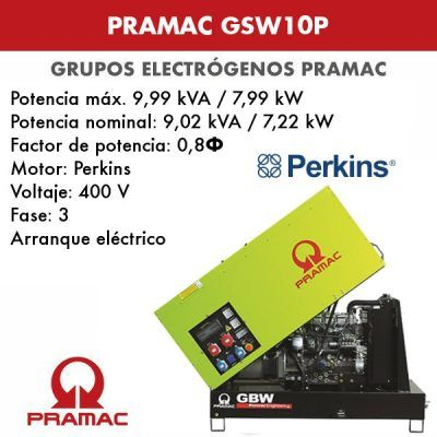 Grupo electrógeno insonorizado Pramac GSW10P