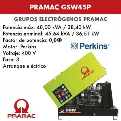 Grupo electrógeno insonorizado Pramac GSW45P