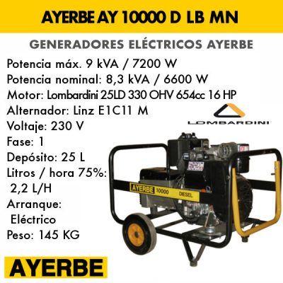Generador electrico diesel Ayerbe 10000 D LB MN E