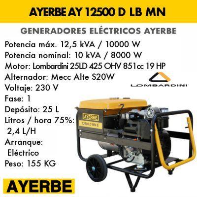 Generador electrico diesel Ayerbe 12500 D LB MN E