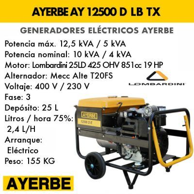 Generador electrico diesel Ayerbe 12500 D LB TX E